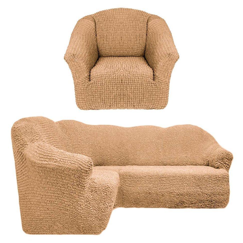 Чехол на угловой диван и одно кресло без оборки песочный