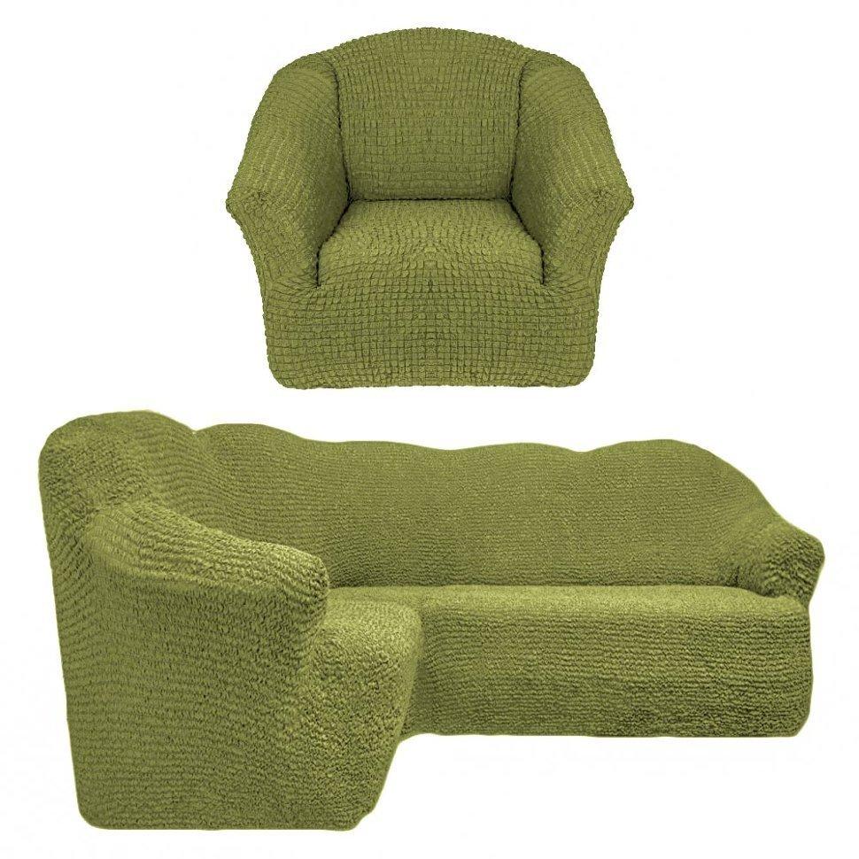 Чехол на угловой диван и одно кресло без оборки фисташковый