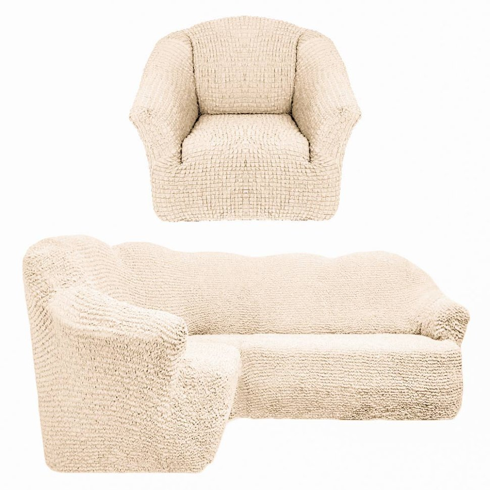 Чехол на угловой диван и одно кресло без оборки шампань