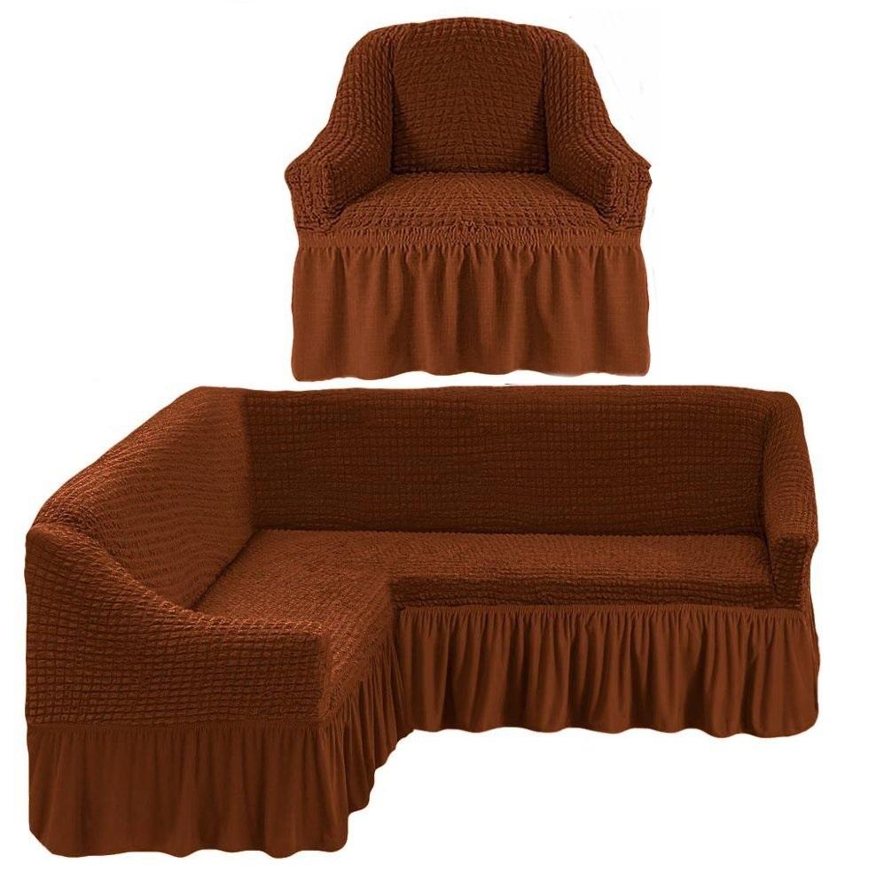 Чехол на угловой диван и одно кресло коричневый