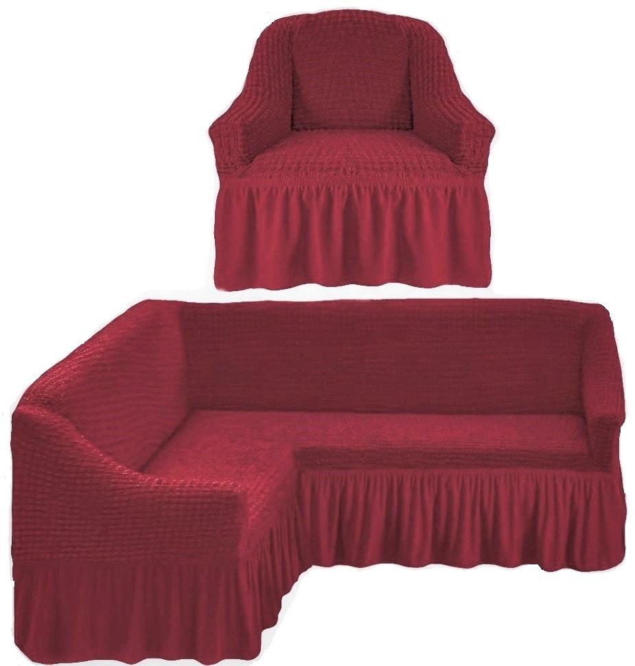 Чехол на угловой диван и одно кресло малиновый