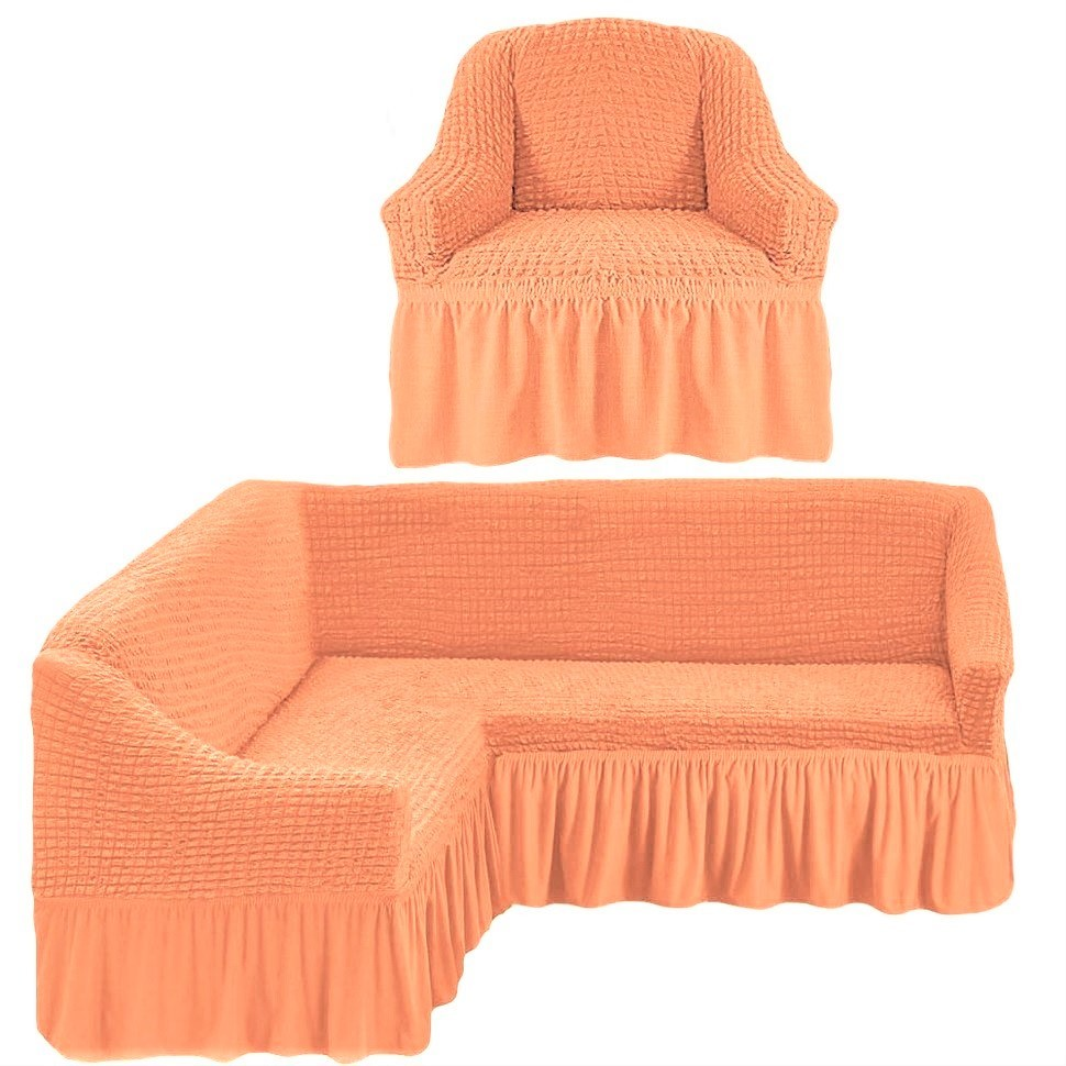 Чехол на угловой диван и одно кресло персиковый