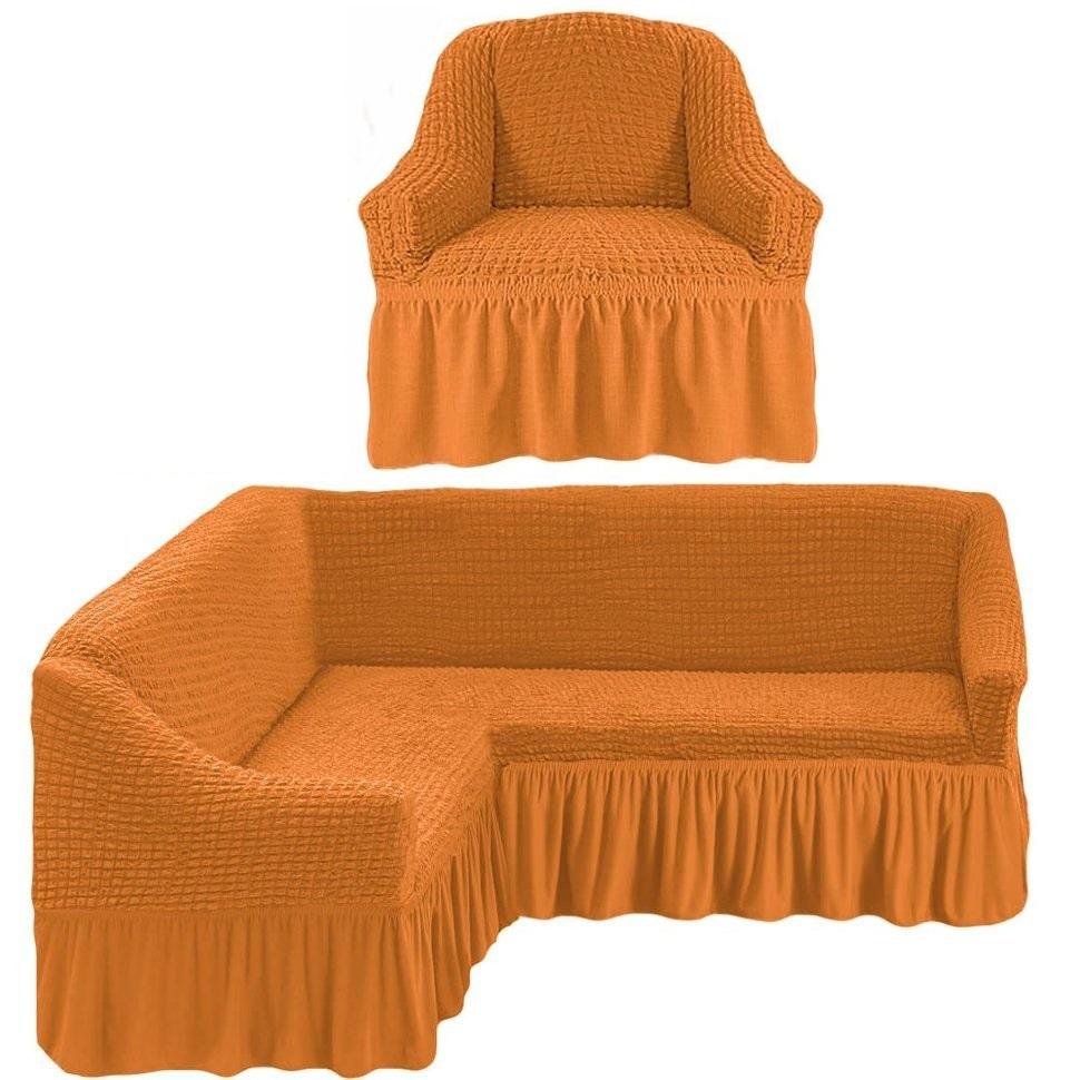 Чехол на угловой диван и одно кресло рыжий