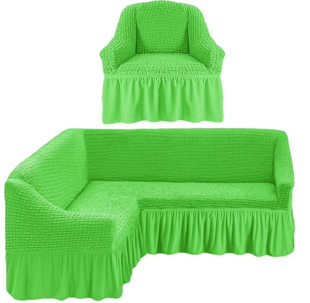 Чехол на угловой диван и одно кресло салатовый