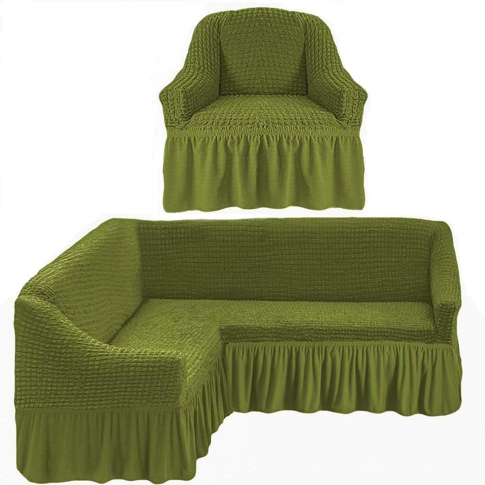 Чехол на угловой диван и одно кресло фисташковый