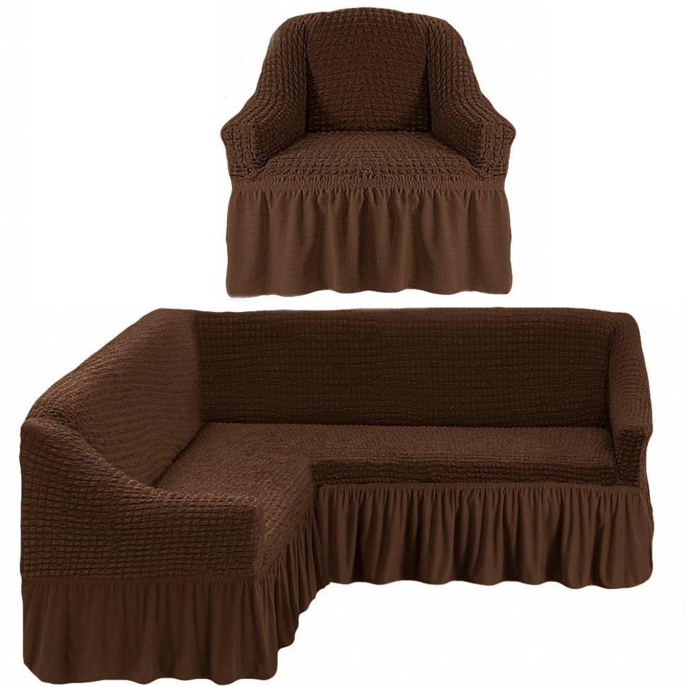 Чехол на угловой диван и одно кресло шоколад