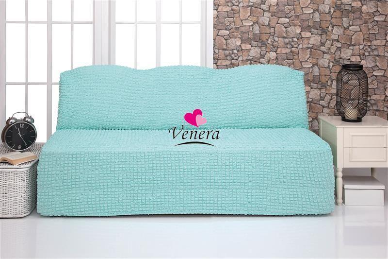 Чехол на 3-х местный диван без подлокотников бирюзовый