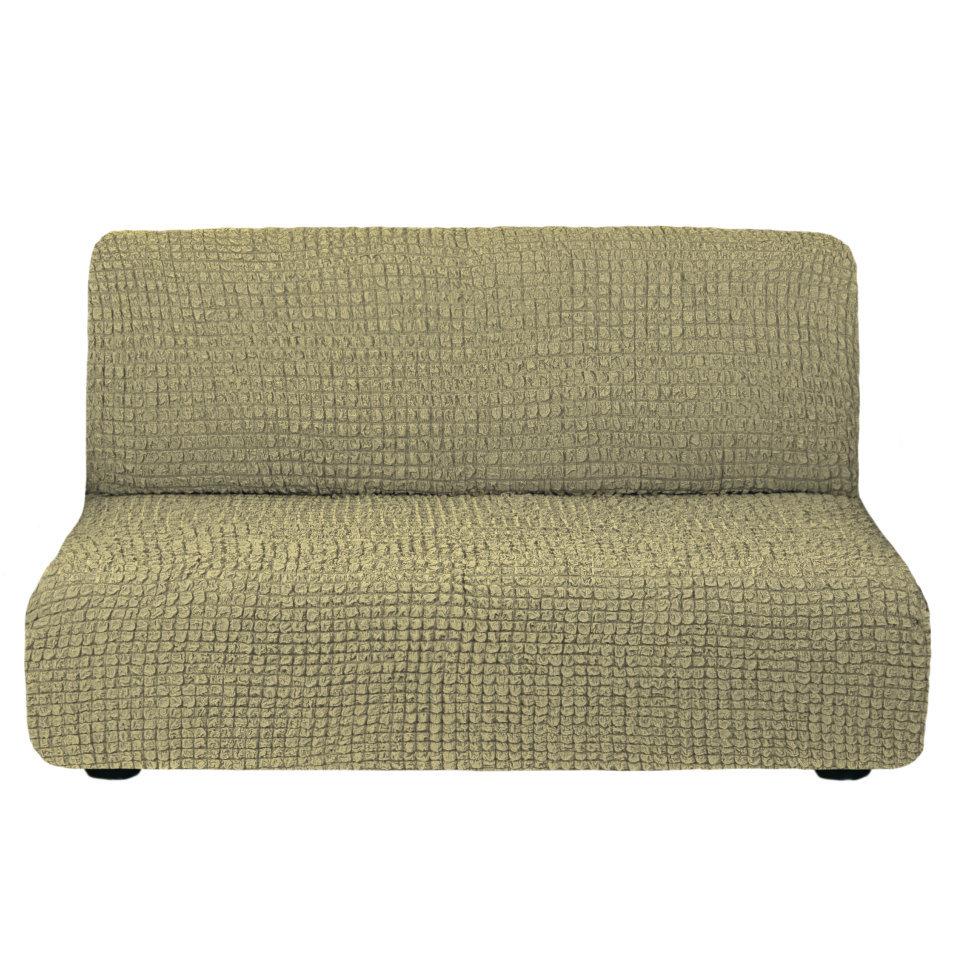 Чехол на 3-х местный диван без подлокотников оливковый