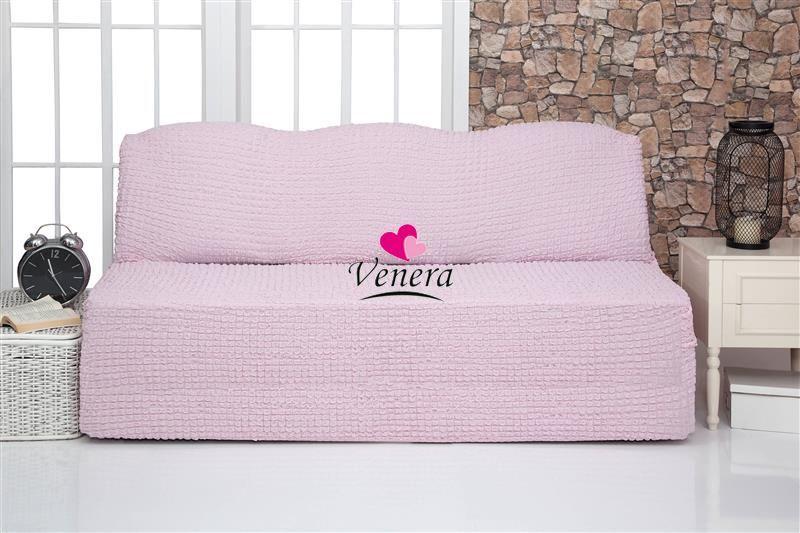 Чехол на 3-х местный диван без подлокотников розовый