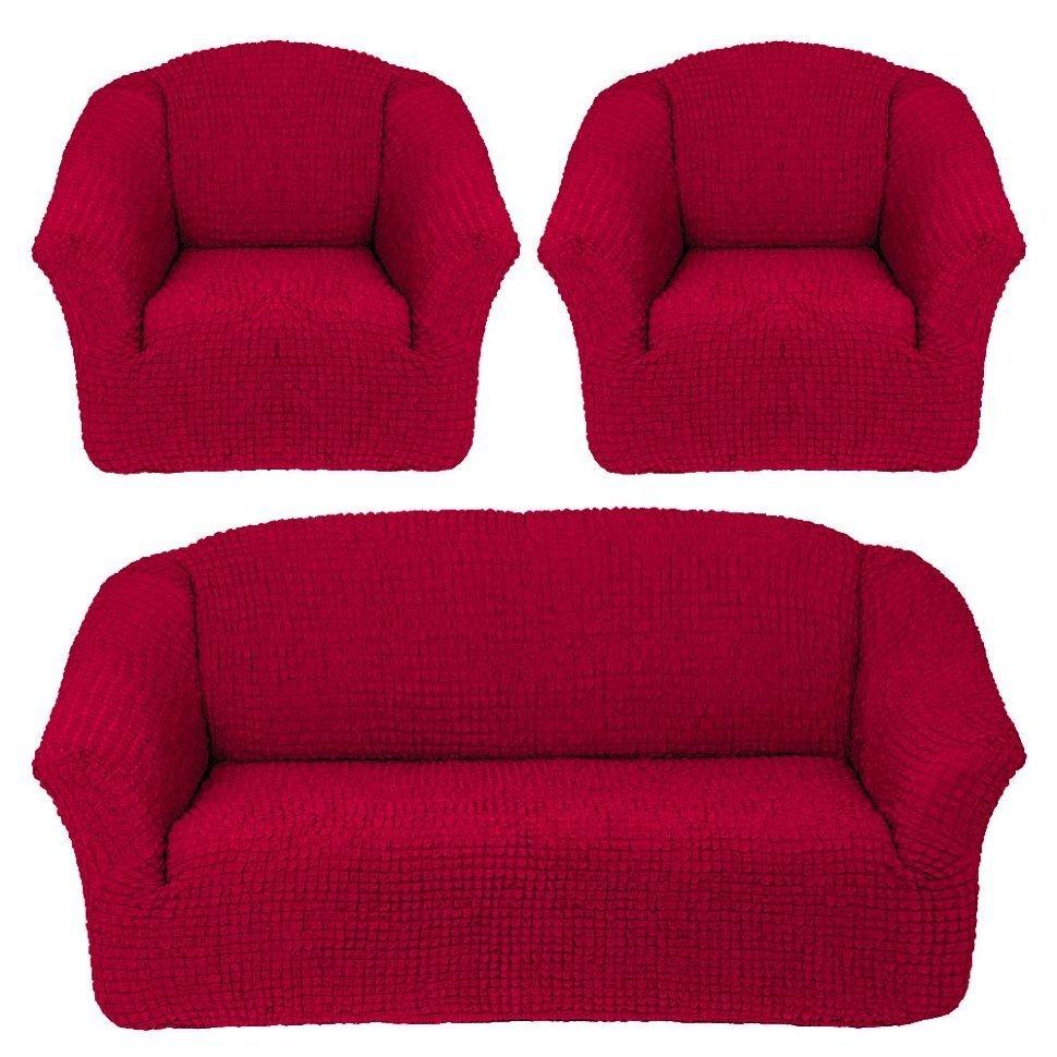 Чехол на 3-х местный диван и два кресла без оборки бордо