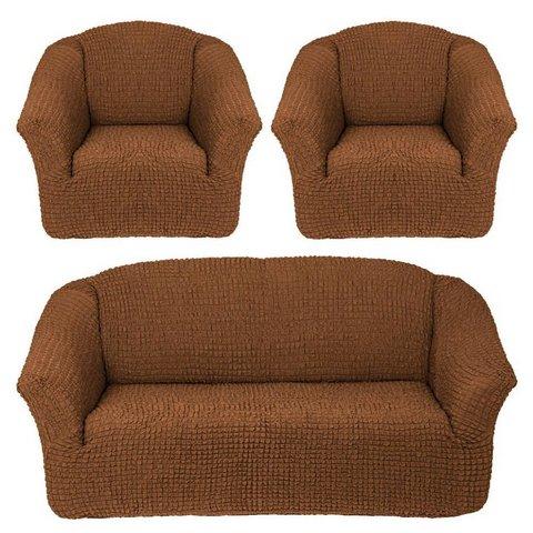 Чехол на 3-х местный диван и два кресла без оборки коричневый