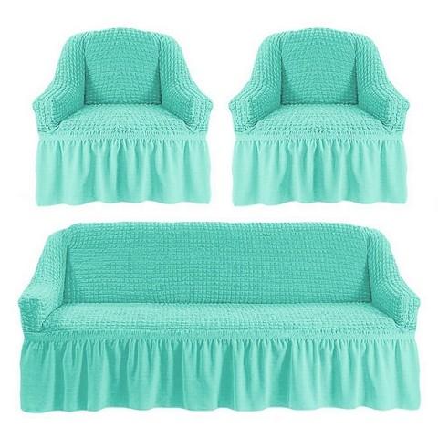 Чехол на 3-х местный диван и два кресла бирюза
