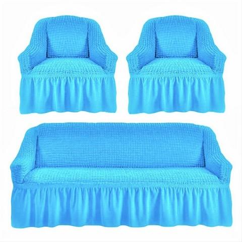 Чехол на 3-х местный диван и два кресла голубой