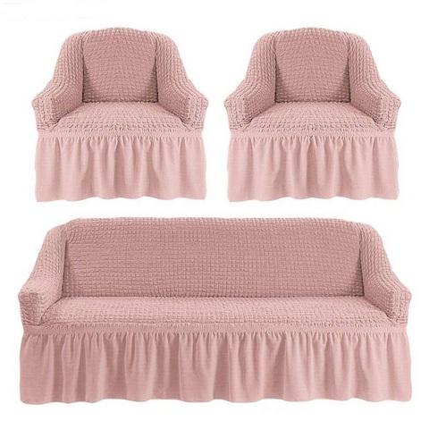 Чехол на 3-х местный диван и два кресла грязно-розовый