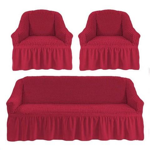 Чехол на 3-х местный диван и два кресла малиновый